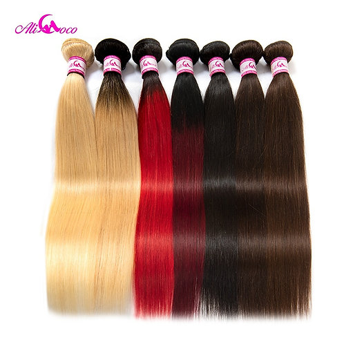Ali Coco Peruvian Straight Hair 8-30 Inch 1/3/4 Bundles Hair