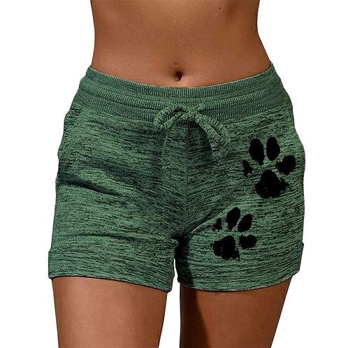 Cat Paw Print Shorts Lace Up High Waist Elastic Cotton Short Women Beach