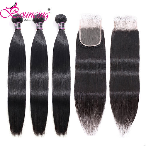 Bouncing Human Hair Brazilian Hair Straight Hair Bundles With