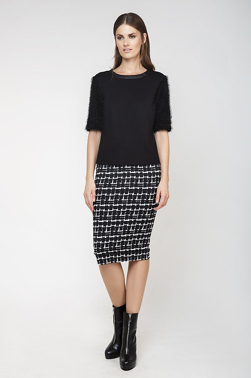 High-Waisted Midi Pencil Skirt