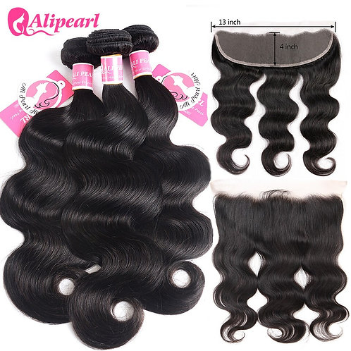 Alipearl Hair Body Wave Human Hair Lace Frontal Closure With