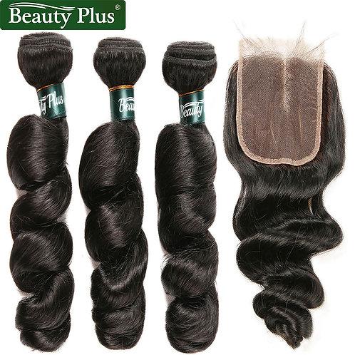 Loose Wave Bundles With Closure Brazilian Hair Weave 3 Bundles