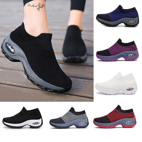 Women Tennis Shoes Breathable Mesh Height-Increasing