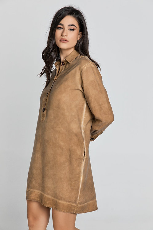 Tencel Taupe Shirt Dress