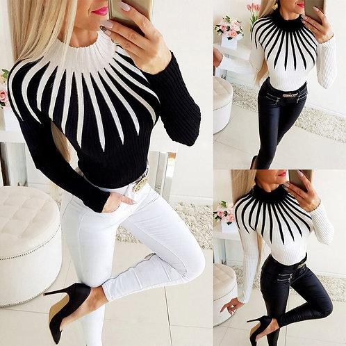 Fashion Bodycon Black White Women Pullover 2020 Autumn