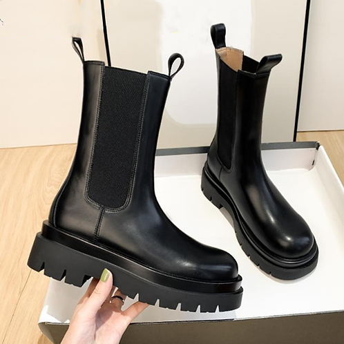 New Luxury Chelsea Boots Women Ankle Boots Chunky Winter