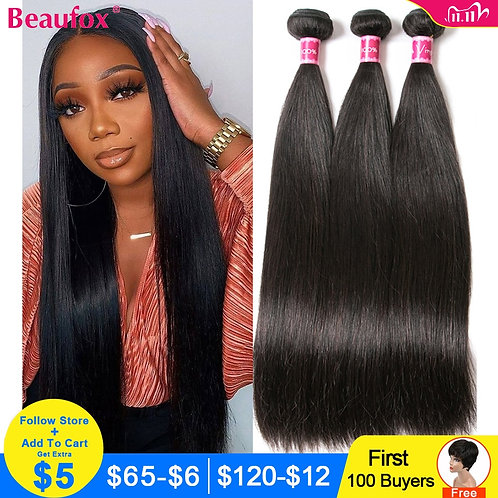 Beaufox Peruvian Hair Bundles Straight Human Hair Weav