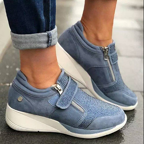 Wedges Shoes Woman Sneakers Zipper Platform Trainers Women
