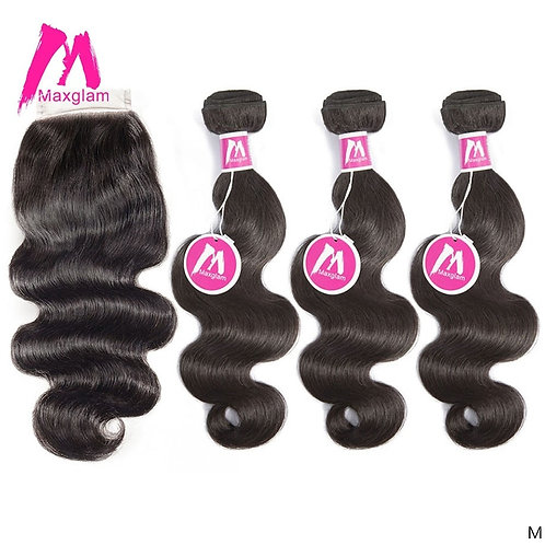 Human Hair Weave Bundles With Closure Brazilian Body Wave