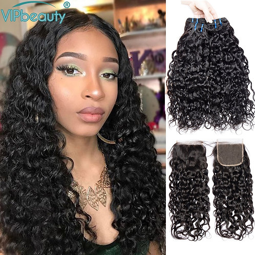 Water Wave Bundles With Closure Natural Color Remy Brazilian Hair Weave