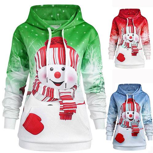 Women Christmas Hoodie Big Pocket Sweatshirt Cartoon