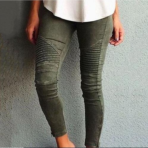 Women Legging Blue Striped Print Legging Women Imitation Jean
