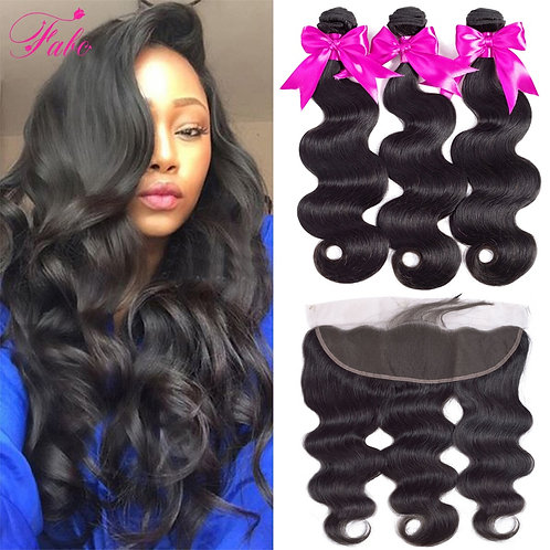 Fabc Hair Brazilian Body Wave Bundles With Frontal Pre Plucked