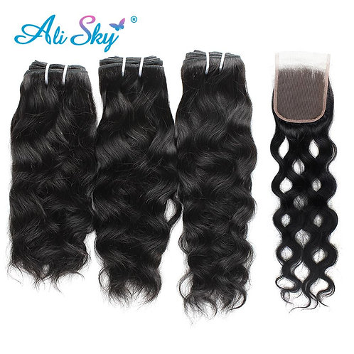 Alisky Hair 3 Bundles With Lace Closure Peruvian Natural Wave