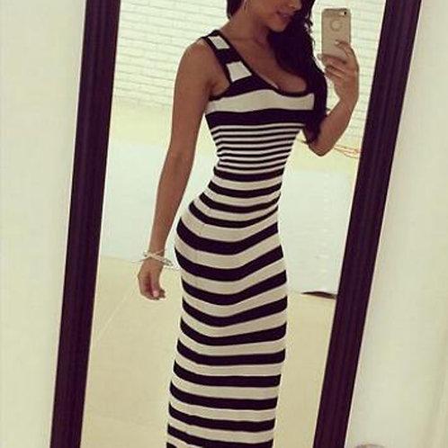 Long Dress Sexy Sleeveless Plus Size Dresses Summer Striped Vintage Skinny