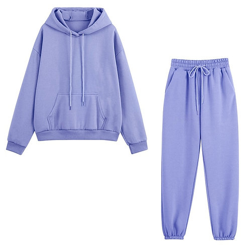 Fleece Tracksuits Women Two Pieces Set Hooded Oversized