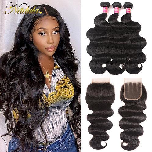 Nadula Hair 7A Peruvian Hair Bundles With Closure 4*4 Swiss Lace Closure