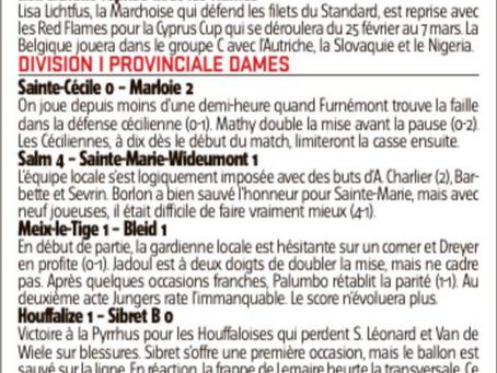 Dames: victoire 0-2 face à Ste Cécile et podium