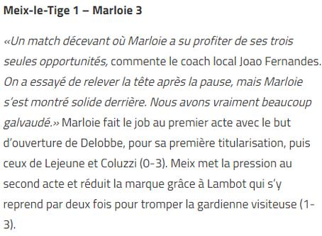 Dames: Meix 1 - 3 Marloie