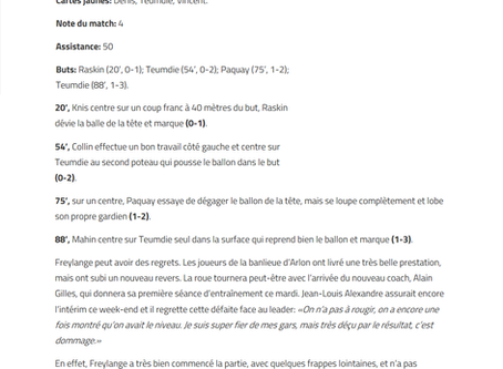 P1: article Freylange 1 - 3 Marloie