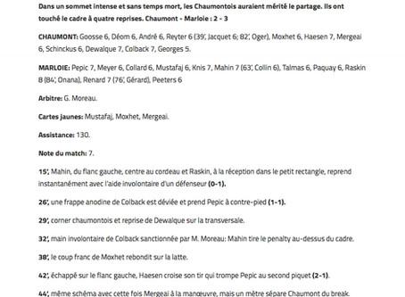 1A: Marloie s'impose à Chaumont et reprend la tête du classement