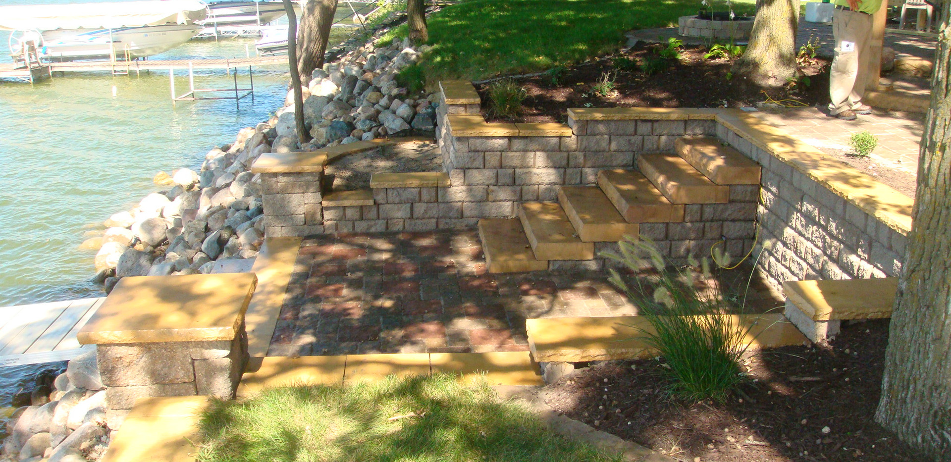 Tiered Retaining Wall and Steps