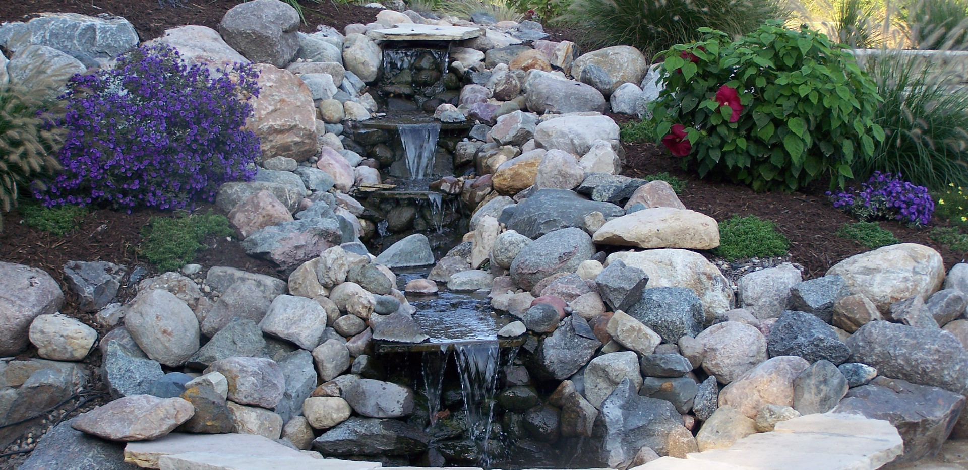 Waterfall with Tiered Landscape Beds