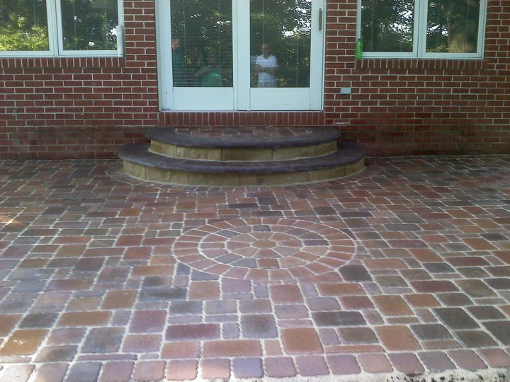 Backdoor Patio with Grand Steps