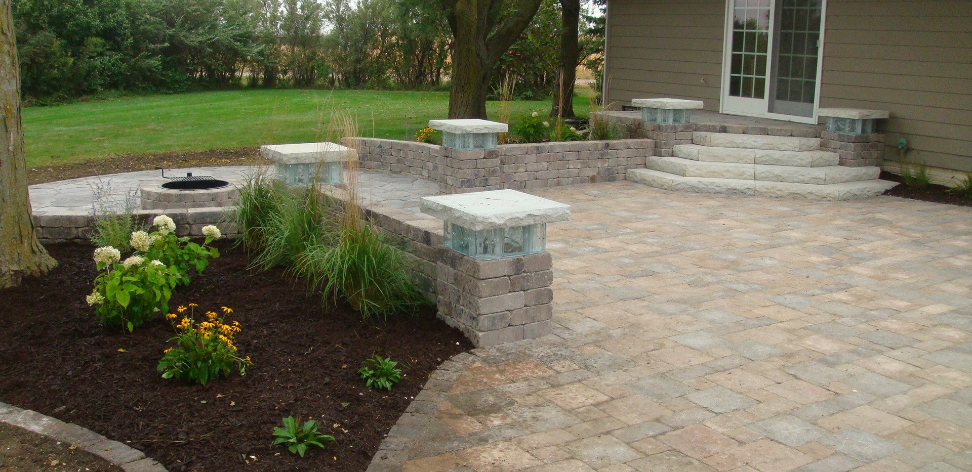 Backyard Patio with Landscape Beds