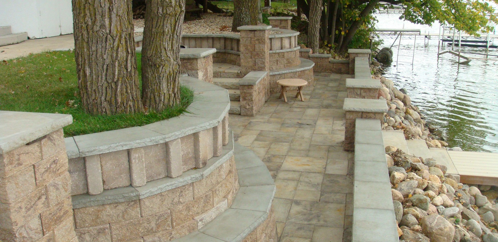 Riverfront Retaining Walls and Patio