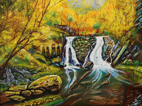 Autumn Scene of a Mountain Waterfall