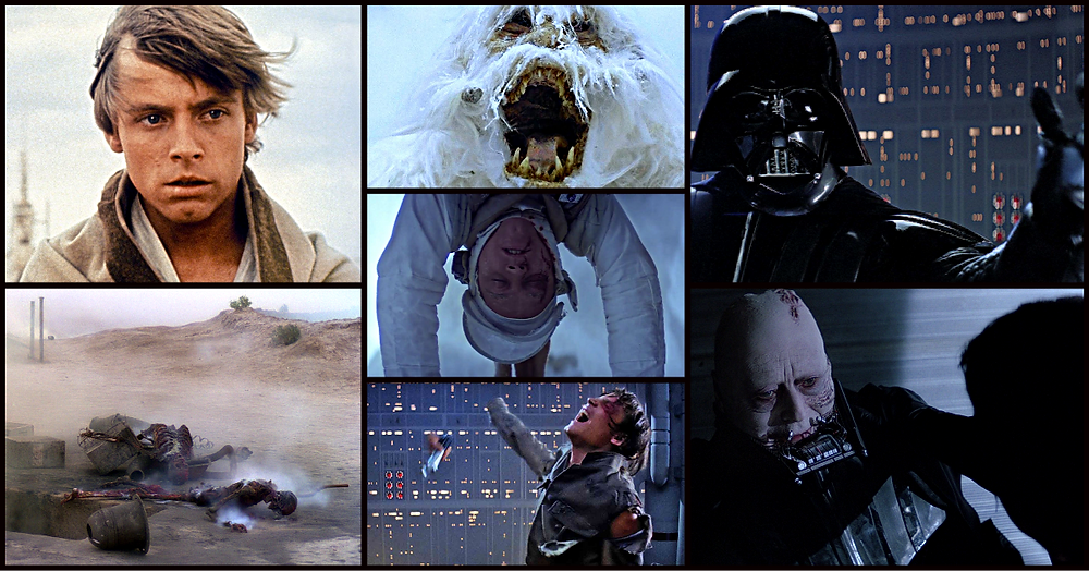 Seven pictures of Luke Skywalker in the original Star Wars trilogy
