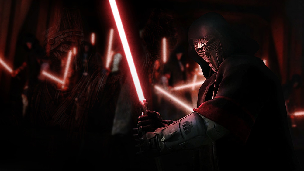 Sith acolyte and warriors holding lightsabers