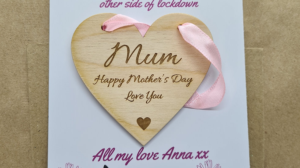 Mothers Day hanging heart decoration with personalised postcard