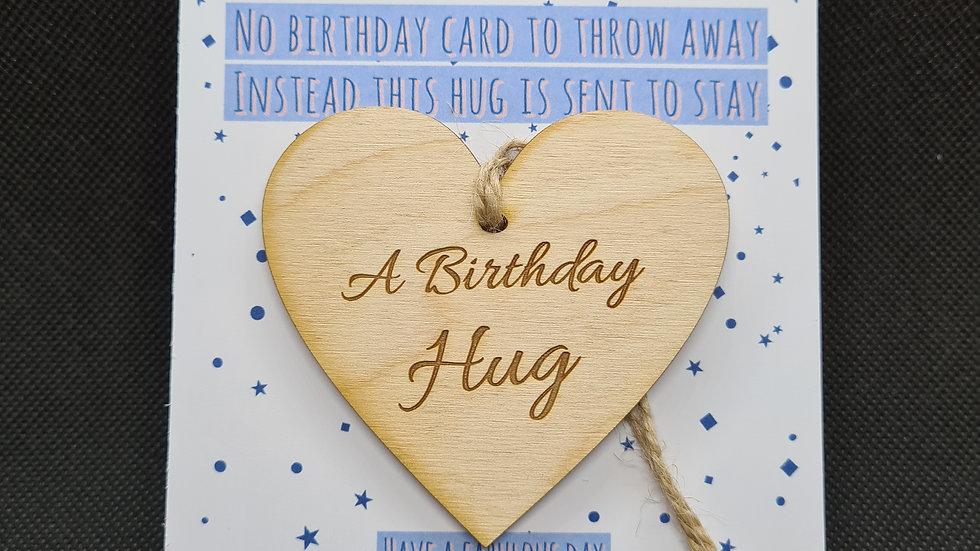 Birthday hug hanging heart decoration and personalised postcard