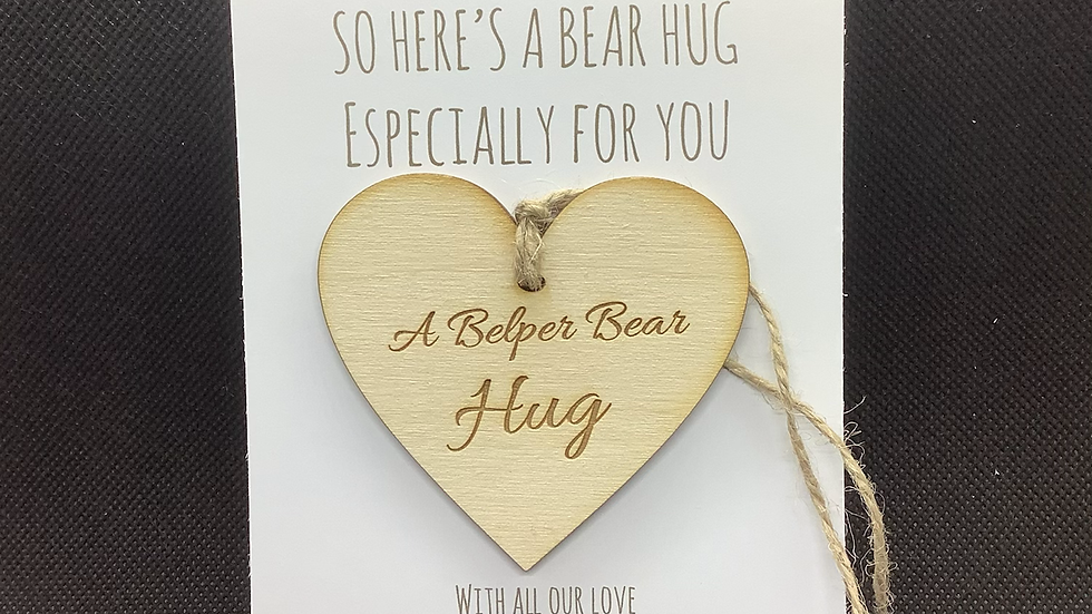 Belper Bear Hug hanging heart with personalised postcard