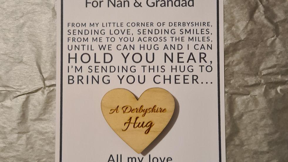 Derbyshire hug fridge magnet and personalised postcard