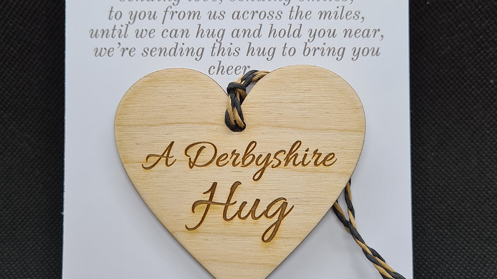 Derbyshire Hanging heart hug decoration with personalised postcard