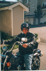 Gene Colin on his Harley Davidson