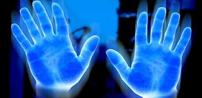 blue hands, biophotons, healing light