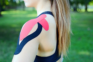 Young beauty woman with kinesiotape on h