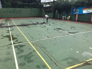AABB inicia reformas na quadra de tênis