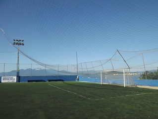 Campo de futebol fechado para reforma
