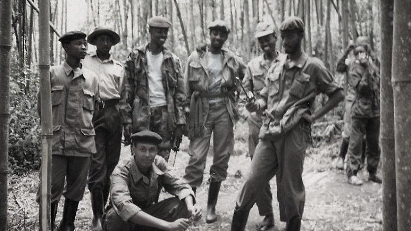 RPF soldiers in a bamboo forestin Northern Rwanda