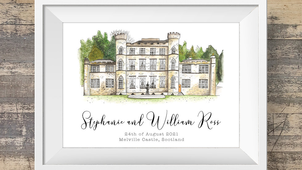 Melville Castle Personalised Wedding Venue Print