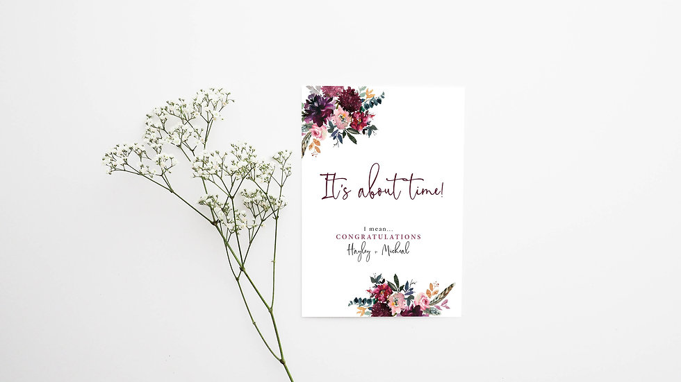 Boho It's About Time Personalised Engagement Card