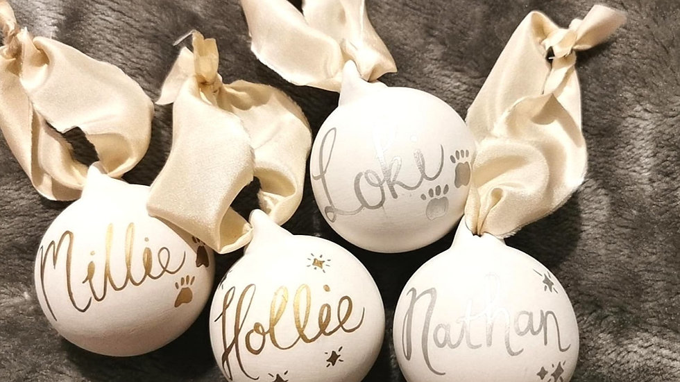 Hand Drawn Personalised Christmas Baubles