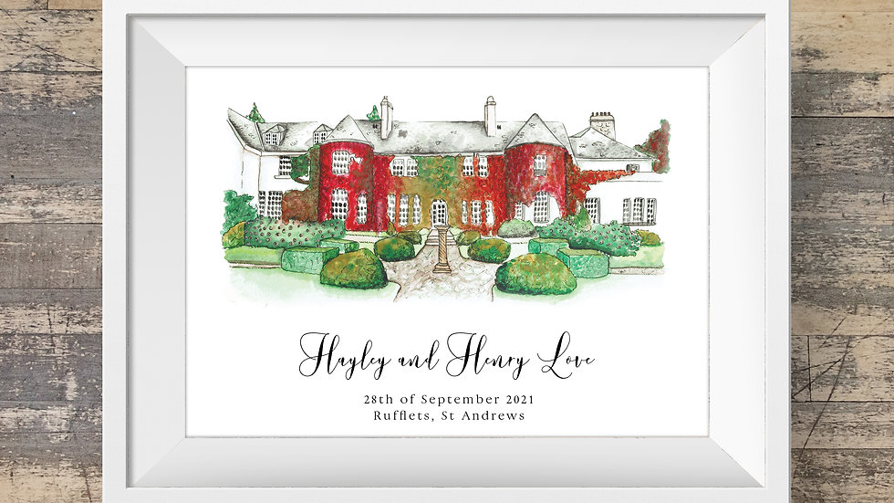 Rufflets St Andrews Personalised Wedding Venue Print