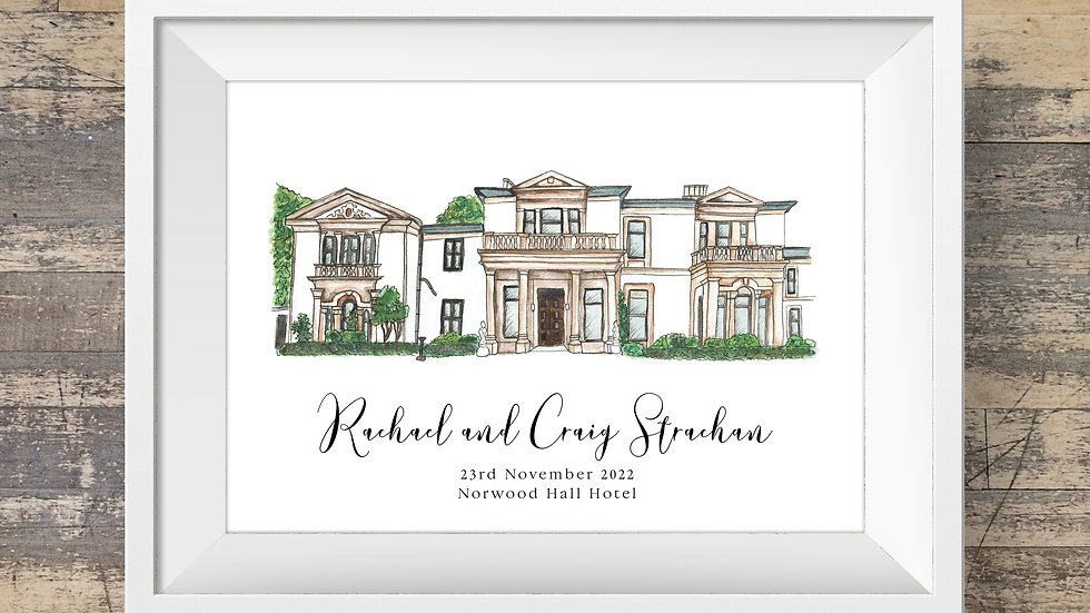 Norwood Hall Hotel Personalised Wedding Venue Print