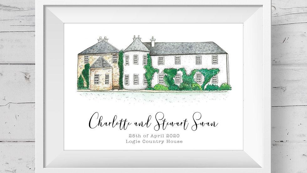 Logie Country House Personalised Wedding Venue Print